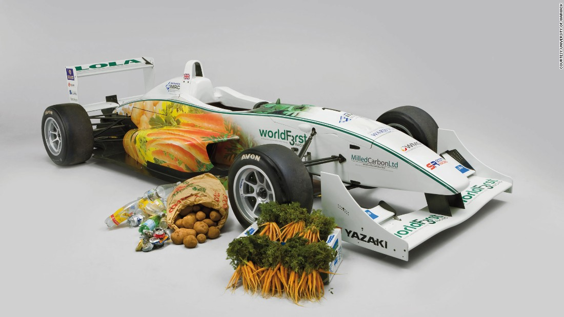 "This British-built ""WorldFirst Formula 3 racing car"" has a biodiesel engine configured to run on fuel derived from chocolate and vegetable oil. The bodywork, steering wheel and seats are made from various vegetable fibers mixed with resin.<br /><br />The racing car is 95% biodegradable and can still do 200 km/h around corners. It was unveiled by researchers from Warwick University in 2009."