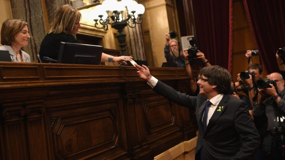 Catalan President Carles Puigdemont casts his vote for independence from Spain at the Generalitat de Catalunya on October 27, 2017, in Barcelona, Spain. Members of the Catalan Parliament voted for independence following a two-day session on how to respond the Spanish government