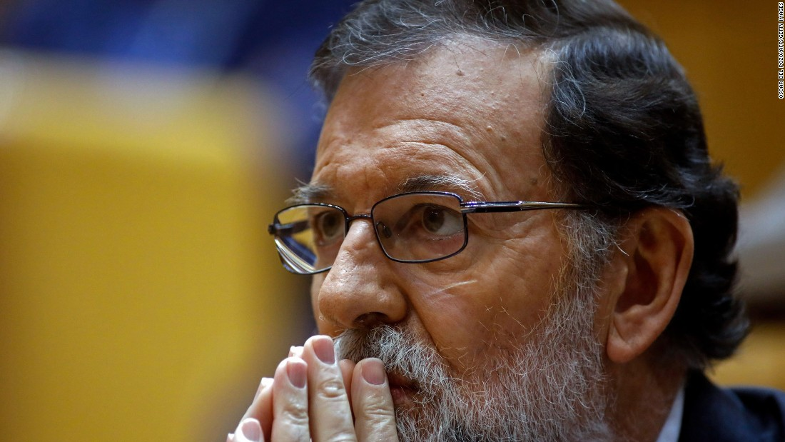 Spanish Prime Minister Mariano Rajoy attends a session of the Spanish Senate in Madrid. Rajoy asked the Senate for the go-ahead to depose Catalan leader Carles Puigdemont and his executive in a bid to stop their independence drive.