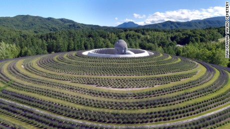 Tadao Ando's Hill of the Buddha at the Makomanai Takino Cemetery in Sapporo, northern Japan.