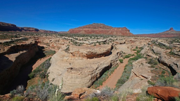 BLANDING, UT - MAY 11; Sandstone formations are shown here on the western edge of the Bears Ears National Monument  on May 11, 2017 outside Blanding, Utah. The newly created Bears Ears National Monument and the Grand Staircase-Escalante National Monument, are under review by the Trump Administration to help determine their future status. (Photo by George Frey/Getty Images)
