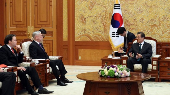 South Korean president Moon Jae-in meets with US Defense Secretary James Mattis on Friday, 27th October, 2017.