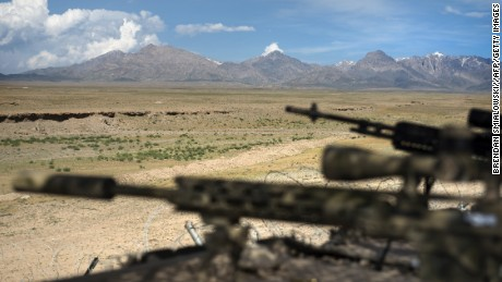 A general view of rifles on a range at Forward Operating Base (FOB) Shank in Afghanistan's Logar Province on May 28, 2014. US forces will complete their withdrawal from Afghanistan by the end of 2016, President Barack Obama has said, unveiling a plan to end America's longest war.