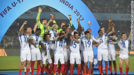 England lift their trophy after winning the Under-17 World Cup final.
