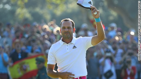 CADIZ, SPAIN - OCTOBER 22:  Sergio Garcia of Spain celebrates victory on the 18th green during the final round of of the Andalucia Valderrama Masters at Real Club Valderrama on October 22, 2017 in Cadiz, Spain.  (Photo by Warren Little/Getty Images)