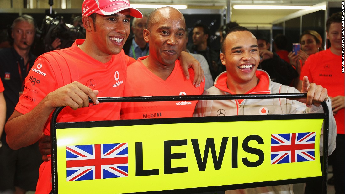 The Briton's first triumph came in only his second season in the sport. Hamilton is seen here celebrating with his father, Anthony (left) and brother Nick after winning the 2008 world drivers' title with McLaren.