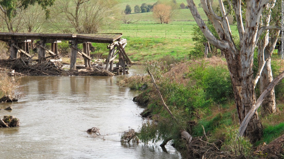 Over 1,000 people had to be moved along with the town's amenities and buildings in Tallangatta in 1956, thanks to the expansion of Lake Hume. The remains of a bridge is pictured.
