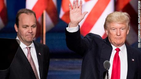 UNITED STATES - OCTOBER 30: FILE PHOTO Rick Gates looks on as GOP Presidential candidate Donald Trump checks the podium early Thursday afternoon in preparation for accepting the GOP nomination to be President at the 2016 Republican National Convention in Cleveland, Ohio on Wednesday July 20, 2016. (Photo By Bill Clark/CQ Roll Call)