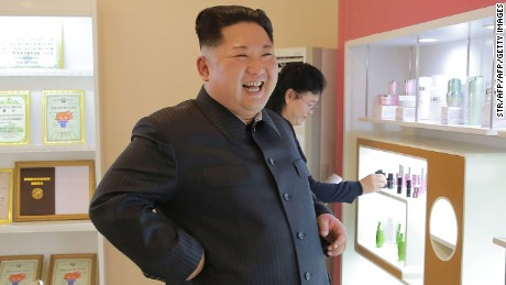 "This undated picture released from North Korea's official Korean Central News Agency (KCNA) on October 29, 2017 shows North Korean leader Kim Jong-Un (C) inspecting the Pyongyang Cosmetics Factory. / AFP PHOTO / KCNA VIA KNS / STR / South Korea OUT / REPUBLIC OF KOREA OUT   ---EDITORS NOTE--- RESTRICTED TO EDITORIAL USE - MANDATORY CREDIT ""AFP PHOTO/KCNA VIA KNS"" - NO MARKETING NO ADVERTISING CAMPAIGNS - DISTRIBUTED AS A SERVICE TO CLIENTS THIS PICTURE WAS MADE AVAILABLE BY A THIRD PARTY. AFP CAN NOT INDEPENDENTLY VERIFY THE AUTHENTICITY, LOCATION, DATE AND CONTENT OF THIS IMAGE. THIS PHOTO IS DISTRIBUTED EXACTLY AS RECEIVED BY AFP.  /         (Photo credit should read STR/AFP/Getty Images)"