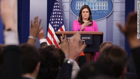 WASHINGTON, DC - OCTOBER 30:  White House Press Secretary Sarah Huckabee Sanders answers reporters' questions during a news conference in the Brady Press Briefing Room at the White House October 30, 2017 in Washington, DC. Former Trump campaign manager Paul Manafort and his ex-business partner Rick Gates turned themselves in to federal authorities Monday in relation to the special counsel's investigation into Russian influence in the 2016 election.