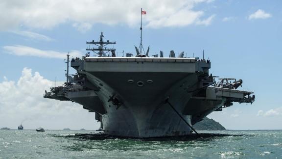 The USS Ronald Reagan aircraft carrier.