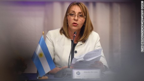 Argentinian  General Prosecutor Alejandra Gils Carbo speaks during a press conference  during an extraordinary meeting of Ibero-American prosecutors in Buenos Aires, on July 13, 2017.  Prosecutors expressed strong support for the Venezuelan General Attorney Luisa Ortega -the most high-profile official to break ranks with Venezuelan President Nicolas Maduro- and her Argentinian counterpart, Alejandra Gils Carbo, in the eye of the storm over questions about her impartiality by the government of Argentinian President Mauricio Macri. / AFP PHOTO / EITAN ABRAMOVICH        (Photo credit should read EITAN ABRAMOVICH/AFP/Getty Images)