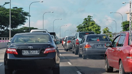 Traffic gridlocked during the morning rush hour in Singapore.