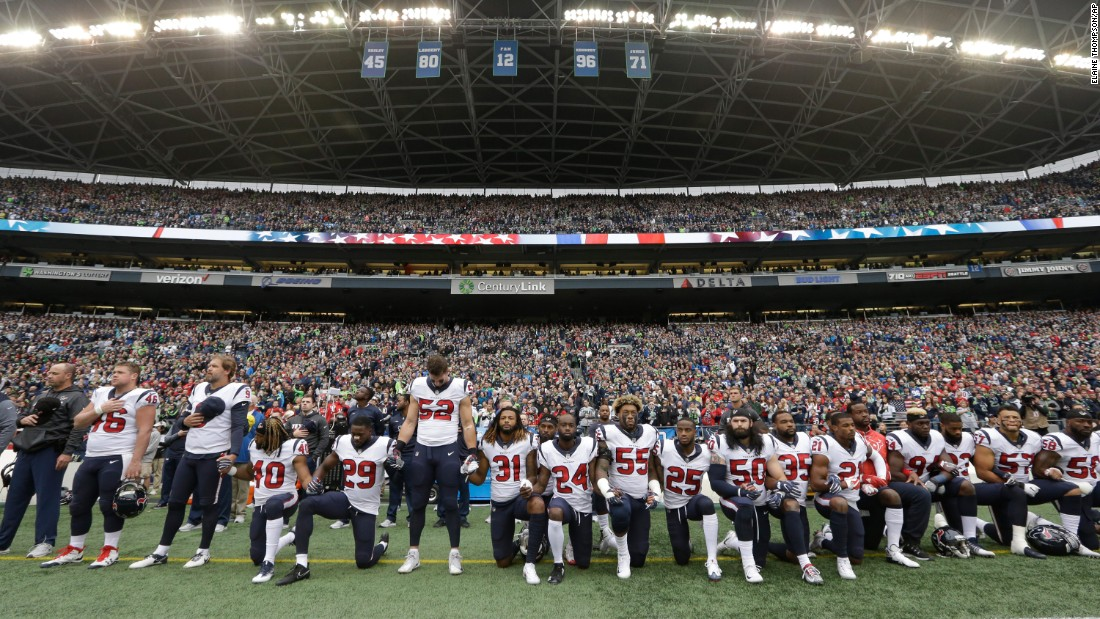 "Members of the NFL's Houston Texans kneel during the National Anthem in Seattle on Sunday, October 29. Many Texans were upset with team owner Bob McNair, who had <a href=""http://www.espn.com/espn/otl/story/_/id/21170410/gaffes-tv-ratings-concerns-dominated-nfl-players-forged-anthem-peace-league-meetings"" target=""_blank"">been quoted by ESPN</a> as saying that the league shouldn't have ""inmates running the prison"" over<a href=""http://www.cnn.com/interactive/2017/09/us/nfl-anthem-protests-cnnphotos/"" target=""_blank""> anthem protests.</a> McNair <a href=""https://www.si.com/nfl/2017/10/27/houston-texans-bob-mcnair-nfl-protests-inmates"" target=""_blank"">later apologized</a> for using those words, saying it was a figure of speech not intended to be taken literally or to refer to players."