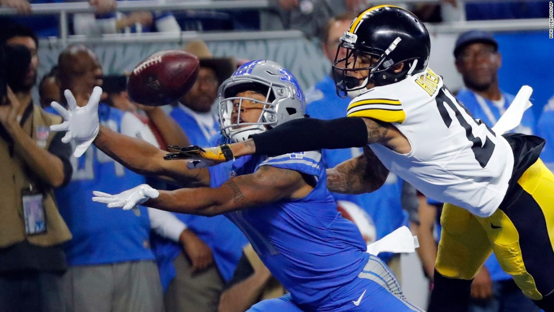 Pittsburgh cornerback Joe Haden, right, deflects a pass intended for Detroit's Marvin Jones Jr. during an NFL game in Detroit on Sunday, October 29.