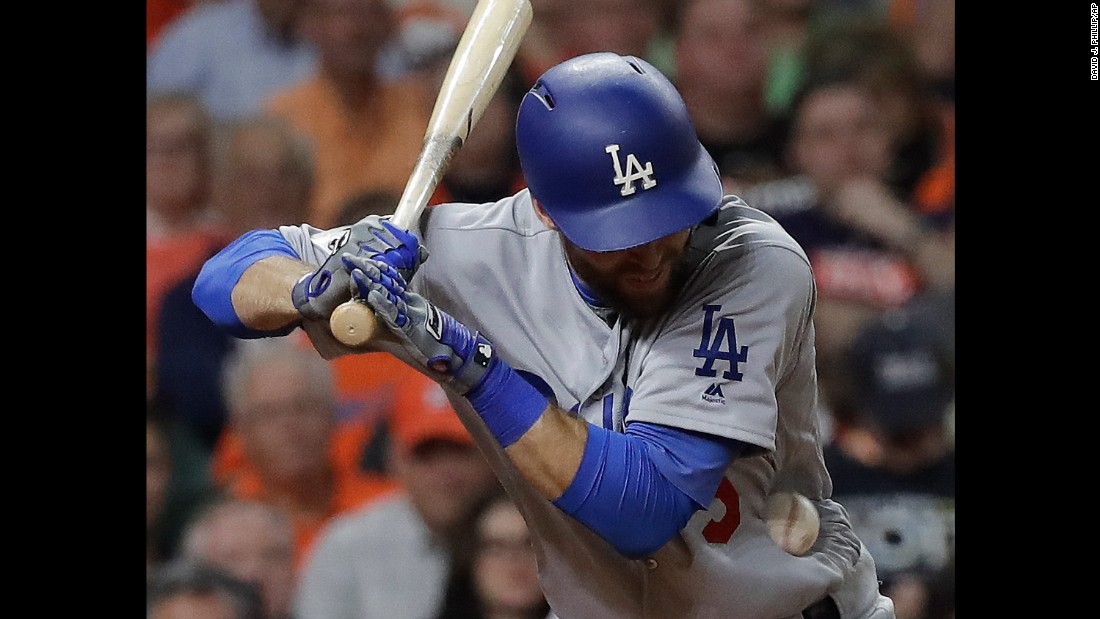 Chris Taylor is hit by a pitch during Game 5 of the World Series on Sunday, October 29. He stayed in the game.
