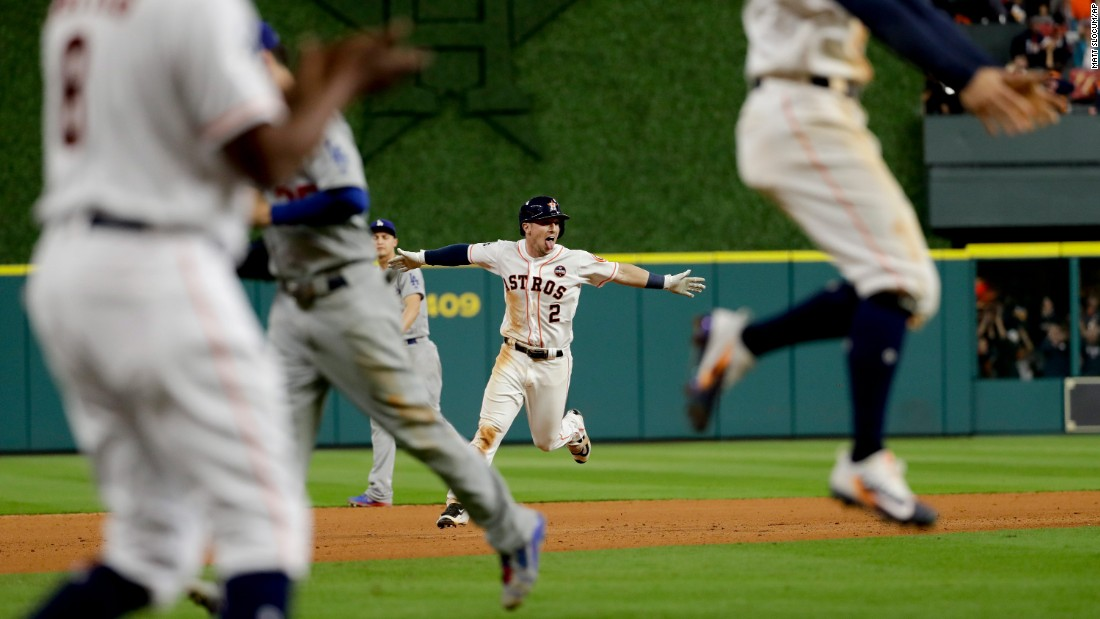 "Houston's Alex Bregman celebrates <a href=""http://bleacherreport.com/articles/2741361-alex-bregmans-walk-off-lifts-astros-past-dodgers-in-epic-world-series-game-5"" target=""_blank"">his game-winning hit</a> in Game 5 of the World Series on Monday, October 30. Bregman brought home Derek Fisher in the bottom of the 10th to give the Astros a 13-12 victory and a 3-2 series lead over the Los Angeles Dodgers."