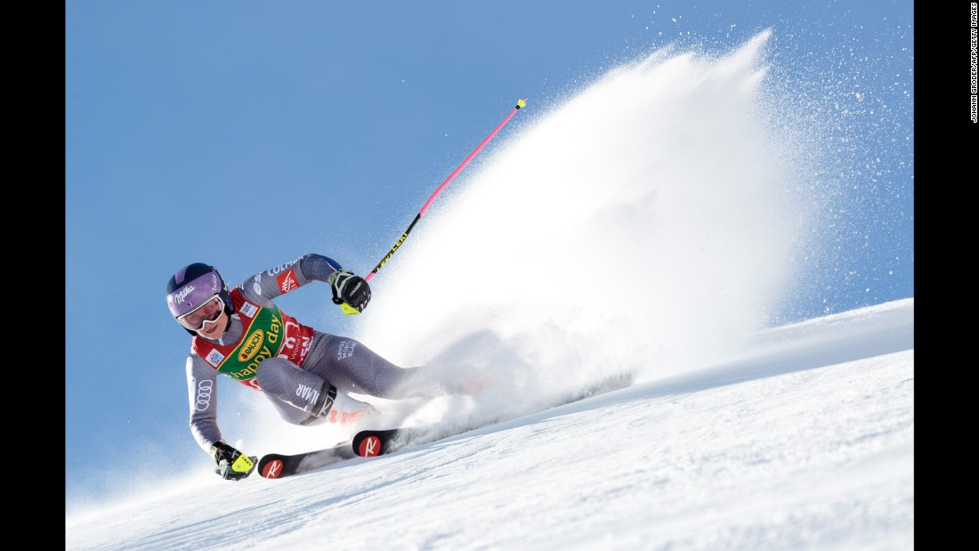 "French skier Tessa Worley competes in the giant slalom during <a href=""http://www.cnn.com/2017/10/28/sport/world-cup-alpine-skiing-solden/index.html"" target=""_blank"">the World Cup opener</a> in Solden, Austria, on Saturday, October 28. She finished in second, behind Germany's Viktoria Rebensburg."