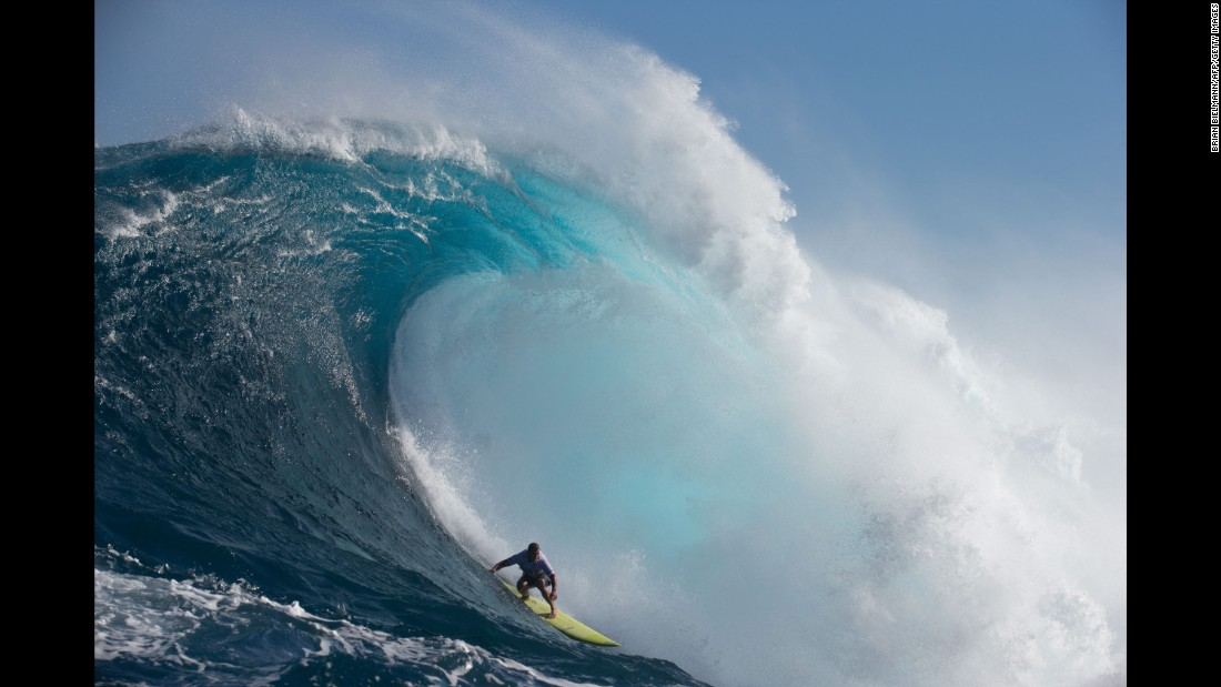 Pro surfer Ryan Hipwood competes in the Pe'ahi Challenge, off the Hawaiian island of Maui, on Saturday, October 28.