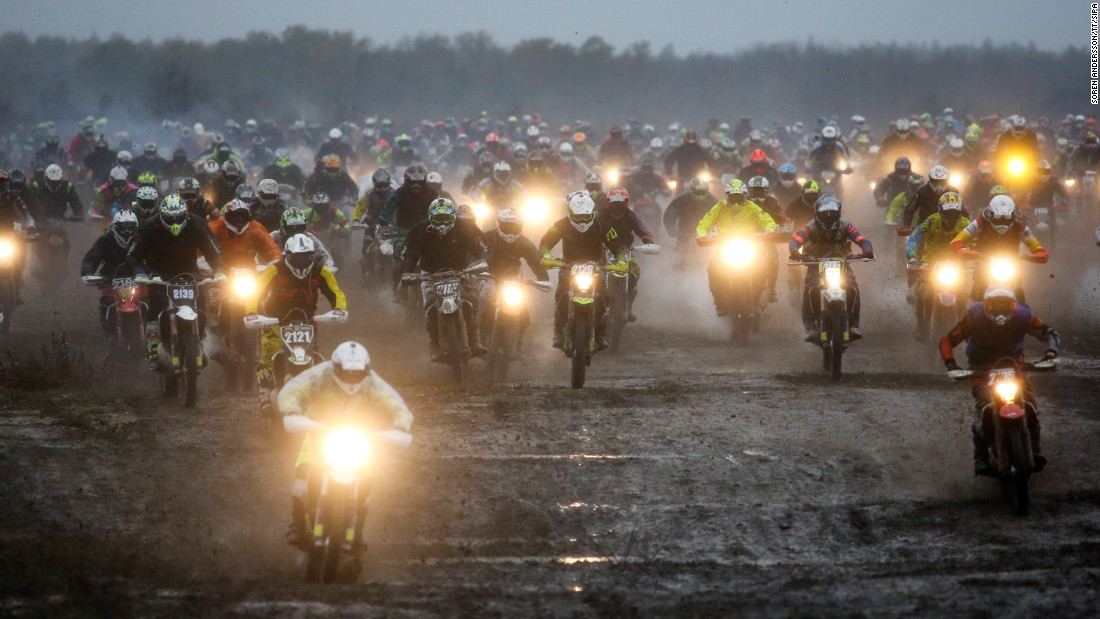 Competitors race in the Gotland Grand National, a motorbike race in Gotland, Sweden, on Saturday, October 28.