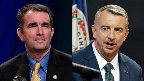 Democrat Ralph Northam, left, faces Republican Ed Gillespie, right, in the Virginia governor's race Tuesday.
