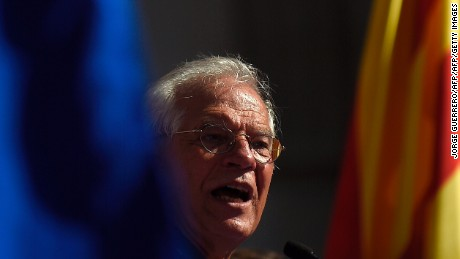 "Spanish member of the European Parliament Josep Borrell gives a speech during a demonstration called by ""Societat Civil Catalana"" (Catalan Civil Society) to support the unity of Spain on October 8, 2017 in Barcelona. The demonstration comes as Catalonia's separatist leaders have vowed to declare independence for the wealthy northeastern region of Spain following a banned secession referendum on October 1.  / AFP PHOTO / JORGE GUERRERO        (Photo credit should read JORGE GUERRERO/AFP/Getty Images)"