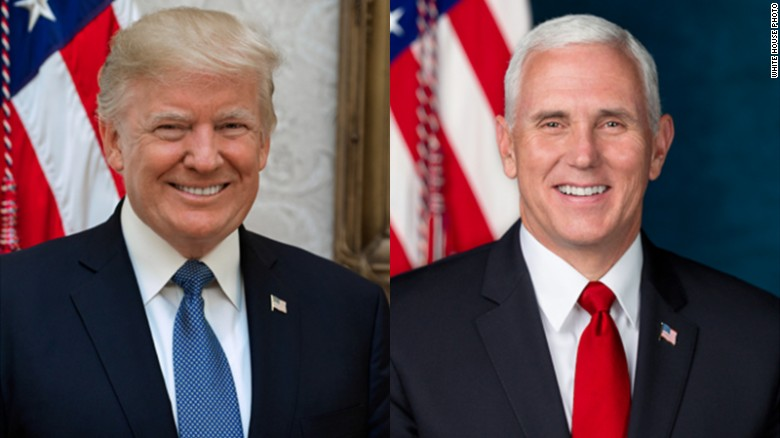 Official portraits of trump pence released by white house cnnpolitics