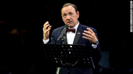 LONDON, ENGLAND - APRIL 19:  Kevin Spacey gives a speech at The Old Vic Theatre for a gala celebration in his honour as his artistic directors tenure comes to an end on April 19, 2015 in London, England.  (Photo by Samir Hussein/Getty Images)