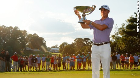Justin Thomas celebrates FedEx Cup win at East Lake in September.