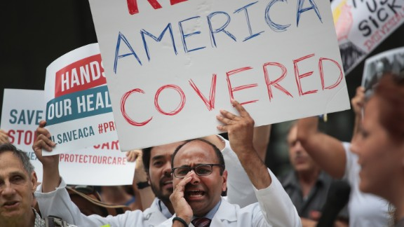 Demonstrators protest changes to the Affordable Care Act  on June 22, 2017 in Chicago, Illinois.