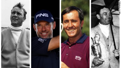 Lee Westwood's perfect four-ball: Arnold Palmer (L), himself ,Seve Ballesteros and Ben Hogan (R).