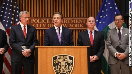 NEW YORK, NY - NOVEMBER 01:  New York City Mayor Bill de Blasio (left) stands with New York Governor Andrew Cuomo and Police Commissioner James O'Neill (right) during a news conference about yesterday's attack along a bike path in lower Manhattan that is being called a terrorist incident  on November 1, 2017 in New York City.  Eight people were killed and 12 were injured on Tuesday afternoon when suspect 29-year-old Sayfullo Saipov intentionally drove a truck onto a bike path in lower Manhattan.  (Photo by Spencer Platt/Getty Images)