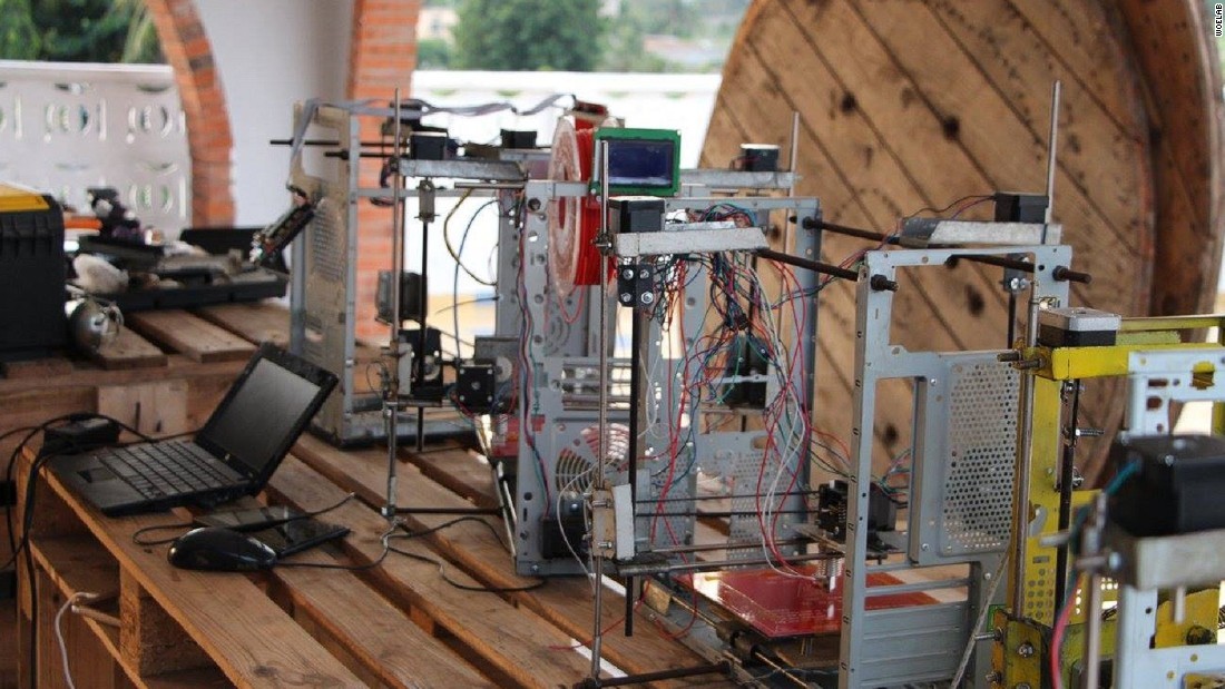 3D printing is gaining traction in Africa. In 2013, WoeLabs tech hub in Togo made the world's first 3D printer made from e-waste. They want to use the 3D printer to revolutionize Africa. They're starting by putting a machine in every school within 1km of the workshop. Buni Hub is another tech center, based in Tanzania, that is building 3D printers.