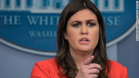 White House spokesperson Sarah Huckabee Sanders speaks at the press briefing at the White House in Washington, DC, on November 1, 2017.