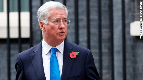 Michael Fallon, pictured October 31, says his conduct fell short of the high standards expected.