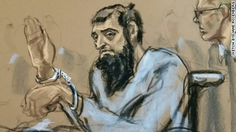 An artist's sketch shows suspect Sayfullo Saipov making his first court appearance Wednesday.
