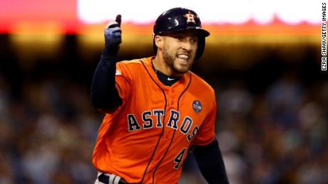 LOS ANGELES, CA - NOVEMBER 01:  George Springer #4 of the Houston Astros celebrates after hitting a two-run home run during the second inning against the Los Angeles Dodgers in game seven of the 2017 World Series at Dodger Stadium on November 1, 2017 in Los Angeles, California.  (Photo by Ezra Shaw/Getty Images)