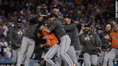 The Houston Astros celebrate after Game 7 of baseball's World Series against the Los Angeles Dodgers Wednesday, Nov. 1, 2017, in Los Angeles. The Astros won 5-1 to win the series 4-3. (AP Photo/Matt Slocum)