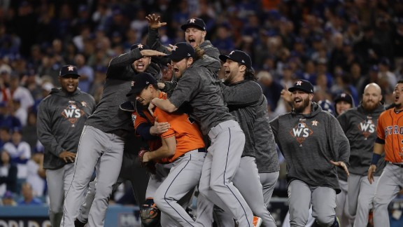 The Houston Astros celebrate after defeating the Los Angeles Dodgers 5-1 in Game 7 of the World Series on Wednesday, November 1. It is the first time the Astros have won the World Series.