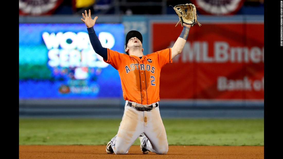 Houston third baseman Alex Bregman celebrates after the victory.