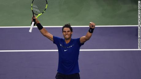 Rafael Nadal of Spain celebrates his victory against Marin Cilic of Croatia during their men's singles semi-final match at the Shanghai Masters tennis tournament in Shanghai on October 14, 2017.  / AFP PHOTO / CHANDAN KHANNA        (Photo credit should read CHANDAN KHANNA/AFP/Getty Images)