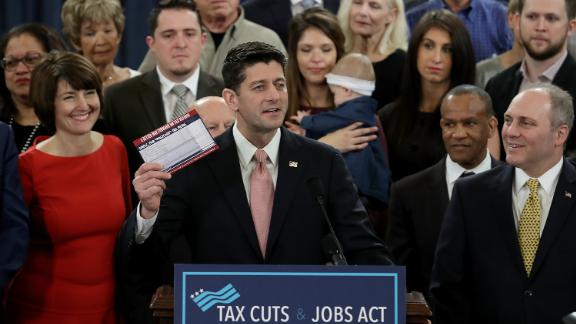 WASHINGTON, DC:  Speaker of the House Paul Ryan (R-WI), surrounded by American families, and members of the House Republican leadership introduces tax reform legislation November 2, 2017 in Washington, DC.  The tax reform legislation is a centerpiece of U.S. President Donald Trump