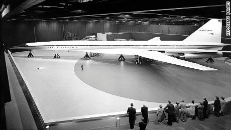 A full-scale mockup of the Boeing 2027 SST in 1969