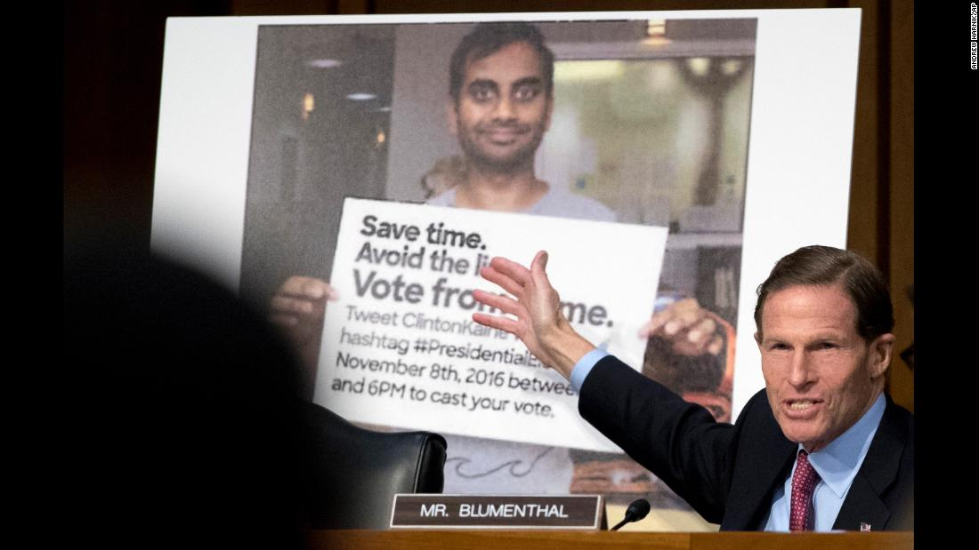 "US Sen. Richard Blumenthal speaks next to a digitally altered photo featuring comedian Aziz Ansari on Tuesday, October 31. <a href=""https://www.avclub.com/russian-hackers-used-a-secret-weapon-aziz-ansari-1820076677"" target=""_blank"">The fake photo</a> appeared online before last year's presidential election and told people that they could vote for Hillary Clinton from home via Twitter.<a href=""http://money.cnn.com/2017/11/01/media/facebook-twitter-google-russia-senate-house-intelligence-committees/index.html"" target=""_blank""> Lawmakers grilled Silicon Valley giants this week</a> over the role that their platforms inadvertently played in Russia's meddling in US politics."