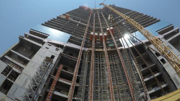 The tower is currently at floor 61 -- standing 245.5 meters tall.It is now the highest structure in Jeddah, and currently taller than the Statue of Liberty by 155 meters, but still 60 meters shorter than the Eiffel Tower.