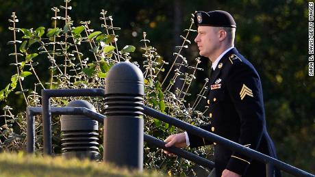 "FU.S. Army Sgt. Robert Bowdrie ""Bowe"" Bergdahl, 31 of Hailey, Idaho, enters the the Ft. Bragg military courthouse for his sentencing hearing on October 25, 2017 in Ft. Bragg, North Carolina. Bergdahl pled guilty to desertion and misbehavior before the enemy stemming from his decision to leave his outpost in 2009, which landed him five years in Taliban captivity."