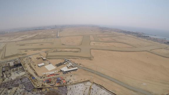 Surrounded by the desert, this was the view from the top of Jeddah Tower when CNN visited the construction site last month.