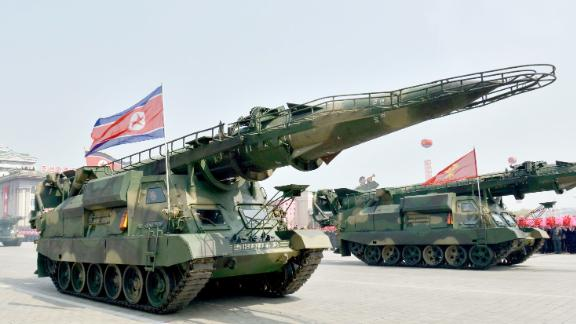 File photo taken in April 2017 shows a ballistic missile on display during a military parade in Pyongyang, North Korea.