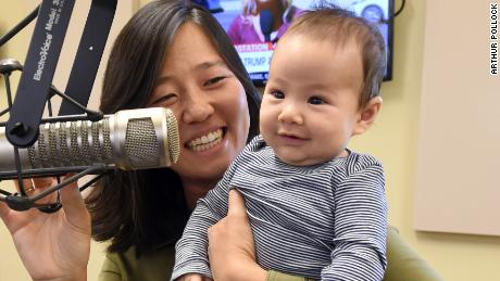 Boston City Councilor Michelle Wu and her baby, 11-week-old Cass, on Herald radio October 3, 2017.