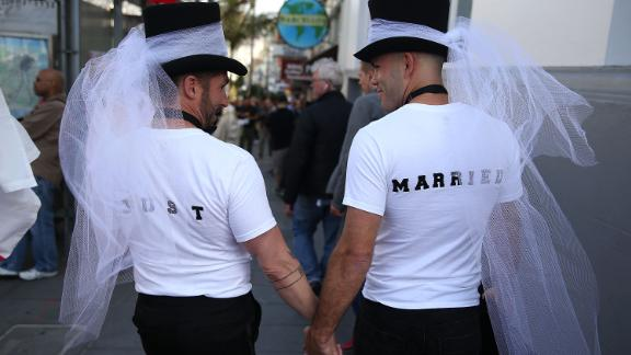 SAN FRANCISCO, CA - JUNE 26:  Same-sex marriage supporters wear just married shirts while celebrating the U.S Supreme Court ruling regarding same-sex marriage on June 26, 2015 in San Francisco, California. The high court ruled that same-sex couples have the right to marry in all 50 states.  (Photo by Justin Sullivan/Getty Images)